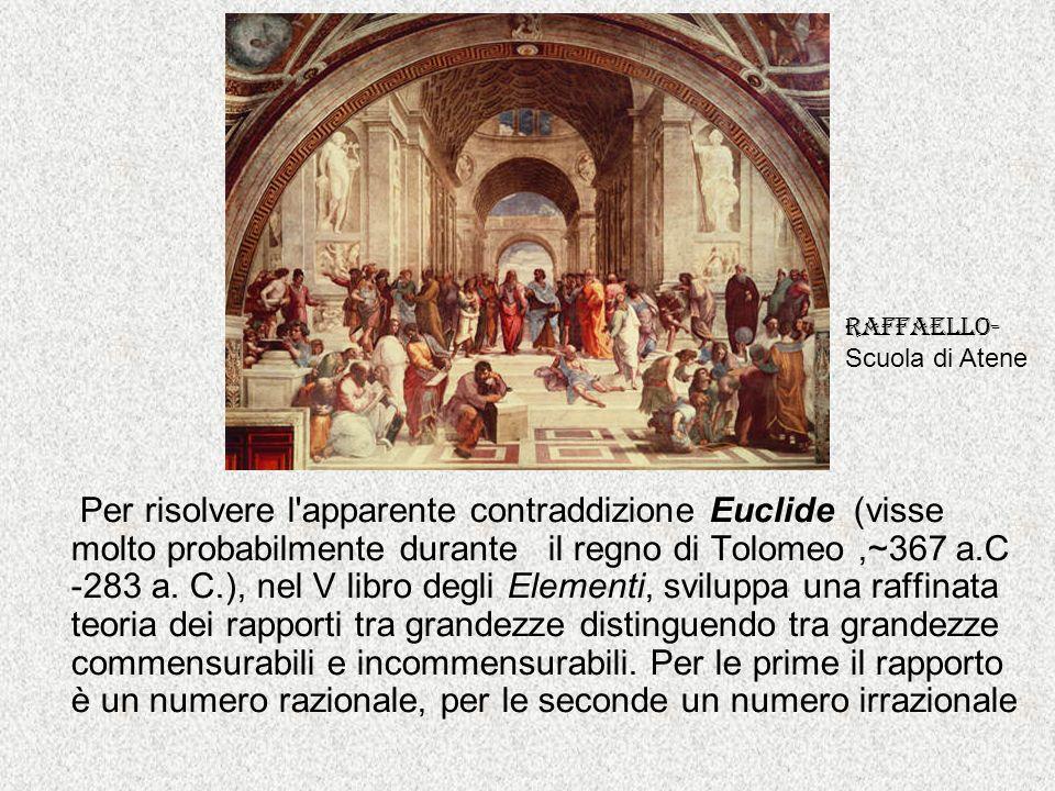 Per risolvere l'apparente contraddizione Euclide (visse molto probabilmente durante il regno di Tolomeo,~367 a.C -283 a. C.), nel V libro degli Elemen