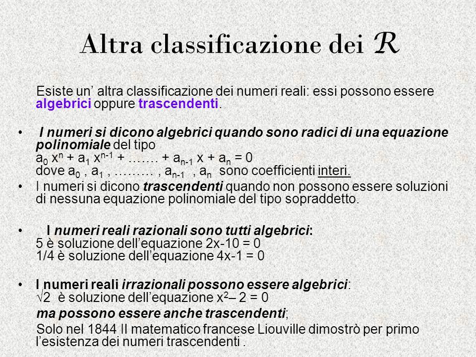 Altra classificazione dei R Esiste un altra classificazione dei numeri reali: essi possono essere algebrici oppure trascendenti. I numeri si dicono al