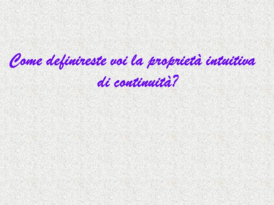 Come definireste voi la proprietà intuitiva di continuità?