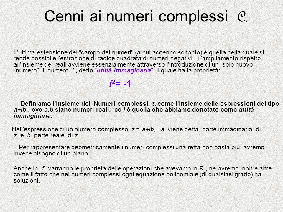 Cenni ai numeri complessi C. L'ultima estensione del