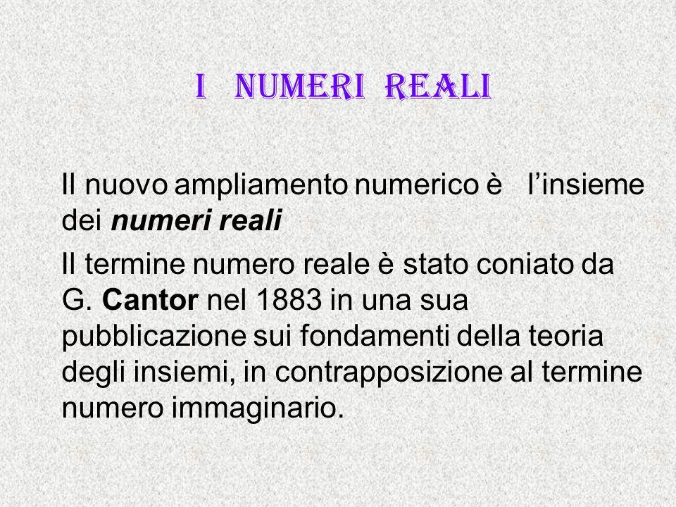 I numeri reali Il nuovo ampliamento numerico è linsieme dei numeri reali Il termine numero reale è stato coniato da G. Cantor nel 1883 in una sua pubb