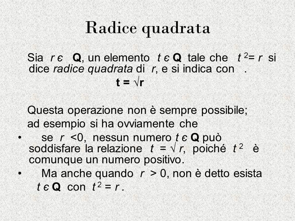 Radice quadrata Sia r є Q, un elemento t є Q tale che t 2 = r si dice radice quadrata di r, e si indica con. t = r Questa operazione non è sempre poss