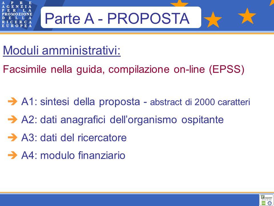 Moduli amministrativi: Facsimile nella guida, compilazione on-line (EPSS) A1: sintesi della proposta - abstract di 2000 caratteri A2: dati anagrafici dellorganismo ospitante A3: dati del ricercatore A4: modulo finanziario Parte A - PROPOSTA