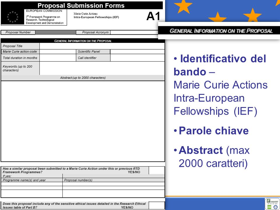 Identificativo del bando – Marie Curie Actions Intra-European Fellowships (IEF) Parole chiave Abstract (max 2000 caratteri)