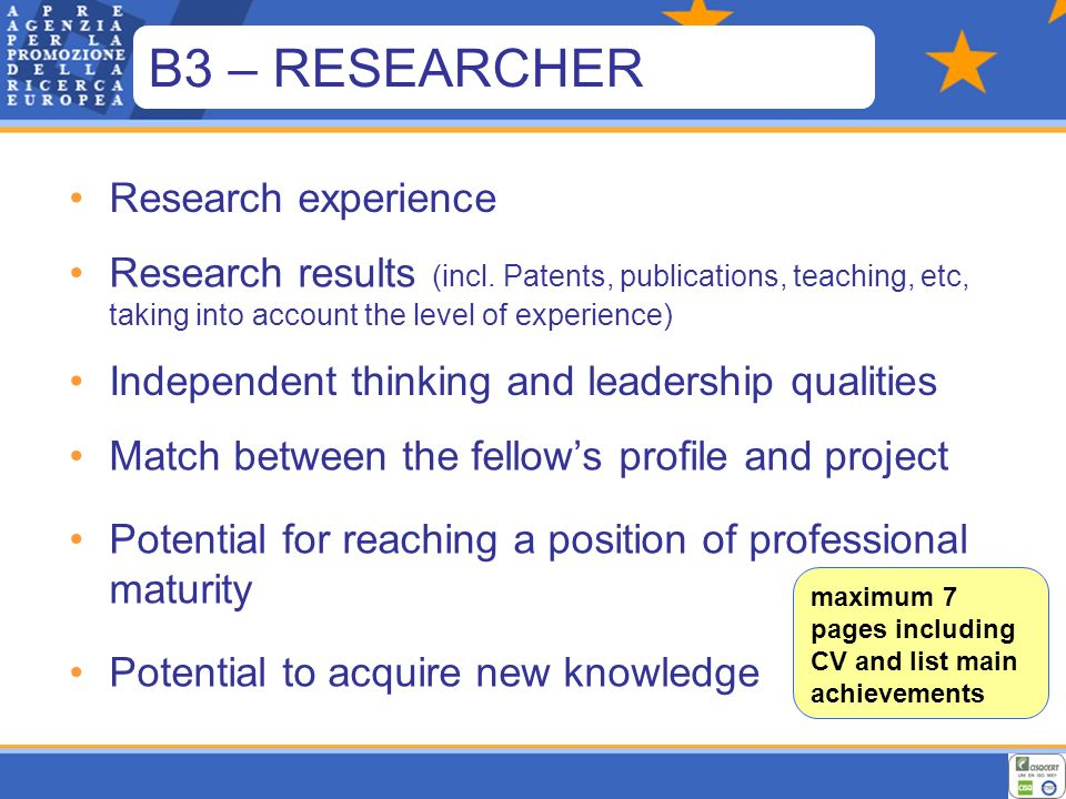 Research experience Research results (incl.
