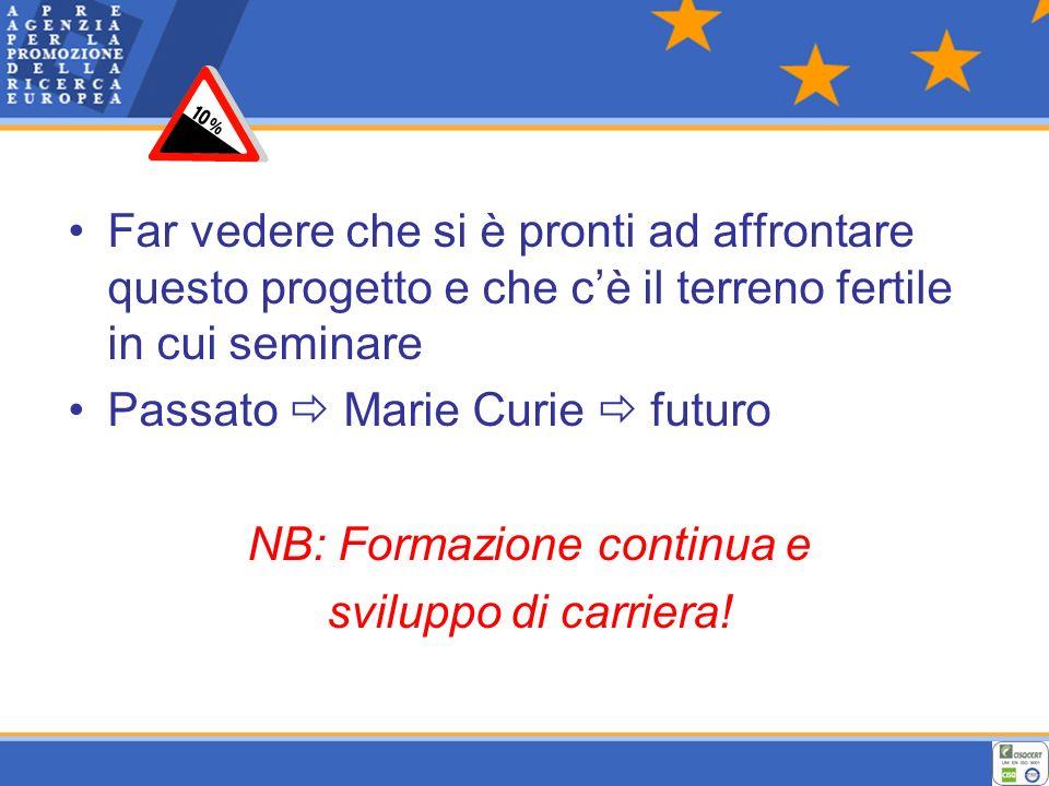 Far vedere che si è pronti ad affrontare questo progetto e che cè il terreno fertile in cui seminare Passato Marie Curie futuro NB: Formazione continua e sviluppo di carriera!