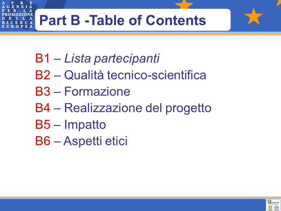 B1 – Lista partecipanti B2 – Qualità tecnico-scientifica B3 – Formazione B4 – Realizzazione del progetto B5 – Impatto B6 – Aspetti etici Part B -Table of Contents