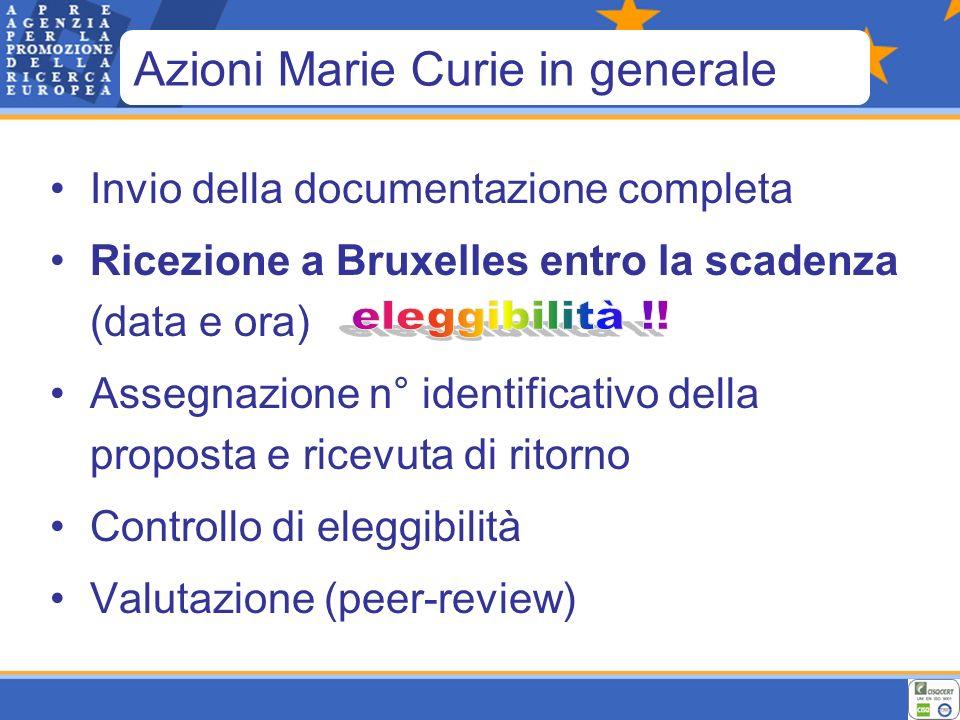 Invio della documentazione completa Ricezione a Bruxelles entro la scadenza (data e ora) Assegnazione n° identificativo della proposta e ricevuta di ritorno Controllo di eleggibilità Valutazione (peer-review) Azioni Marie Curie in generale