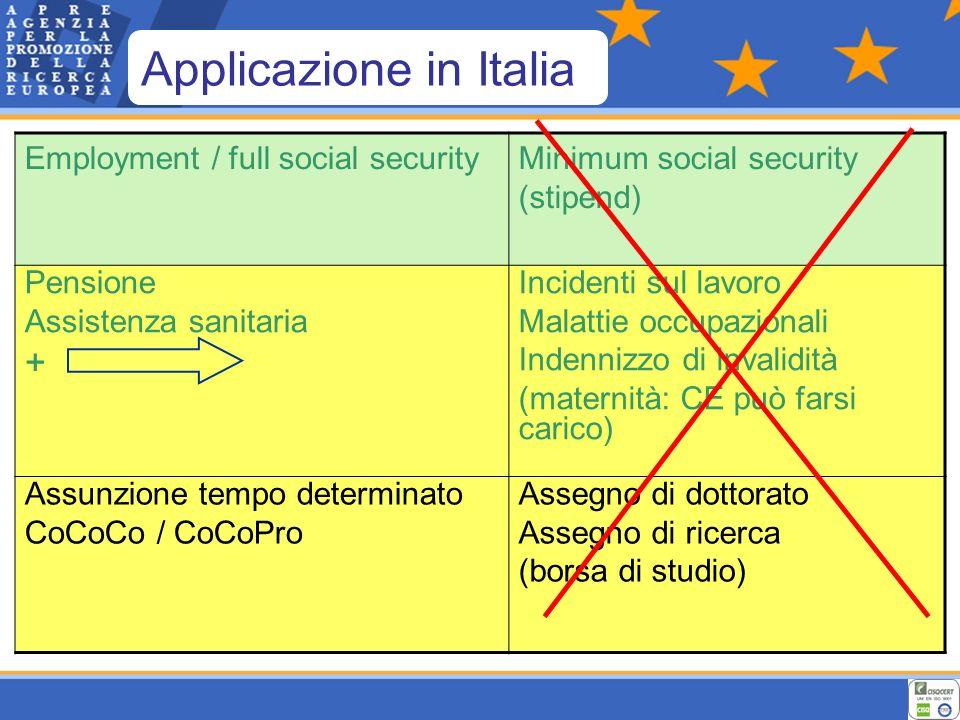 Employment / full social securityMinimum social security (stipend) Pensione Assistenza sanitaria + Incidenti sul lavoro Malattie occupazionali Indennizzo di invalidità (maternità: CE può farsi carico) Assunzione tempo determinato CoCoCo / CoCoPro Assegno di dottorato Assegno di ricerca (borsa di studio) Applicazione in Italia