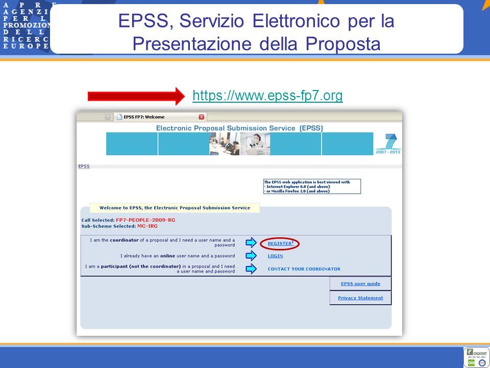 EPSS, Registrazione Inserire i dati del Ricercatore Inserire il Codice Identificativo del Partecipante (PIC)