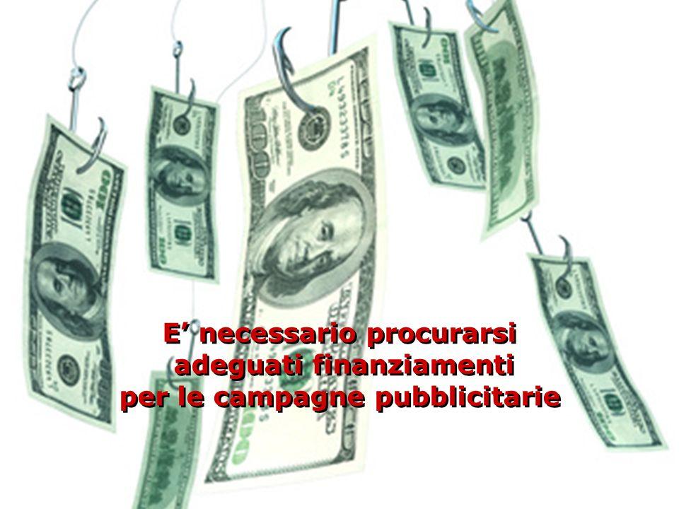 E necessario procurarsi adeguati finanziamenti per le campagne pubblicitarie E necessario procurarsi adeguati finanziamenti per le campagne pubblicita