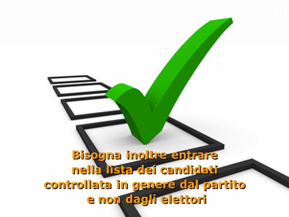Bisogna inoltre entrare nella lista dei candidati controllata in genere dal partito e non dagli elettori Bisogna inoltre entrare nella lista dei candidati controllata in genere dal partito e non dagli elettori O