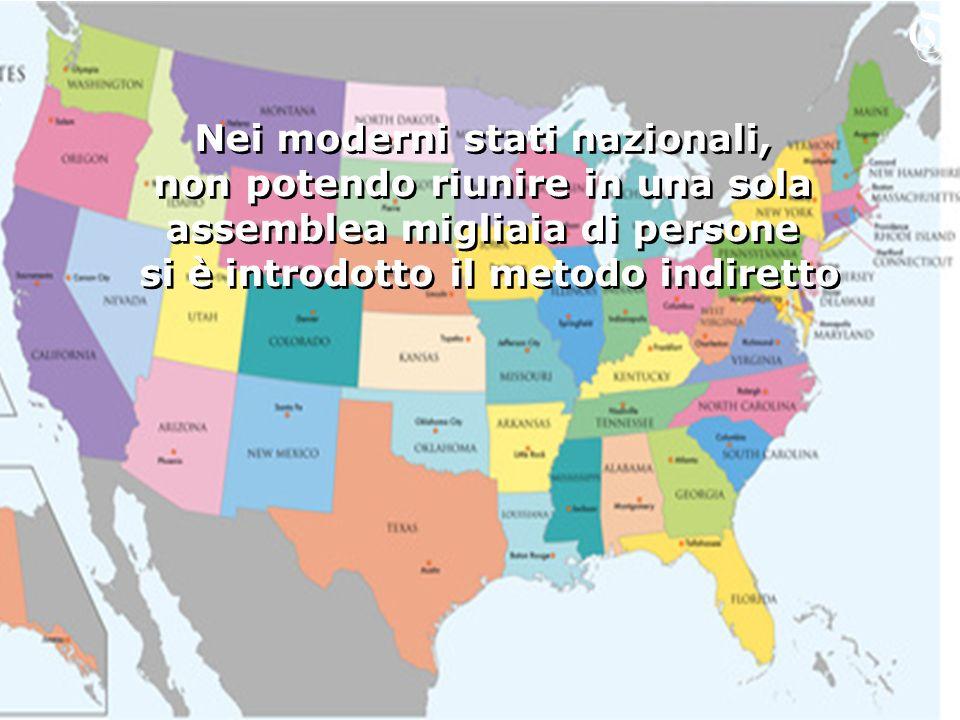 Nei moderni stati nazionali, non potendo riunire in una sola assemblea migliaia di persone si è introdotto il metodo indiretto Nei moderni stati nazio