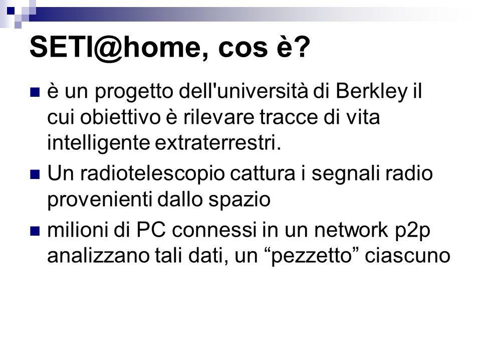 SETI@home, cos è? è un progetto dell'università di Berkley il cui obiettivo è rilevare tracce di vita intelligente extraterrestri. Un radiotelescopio