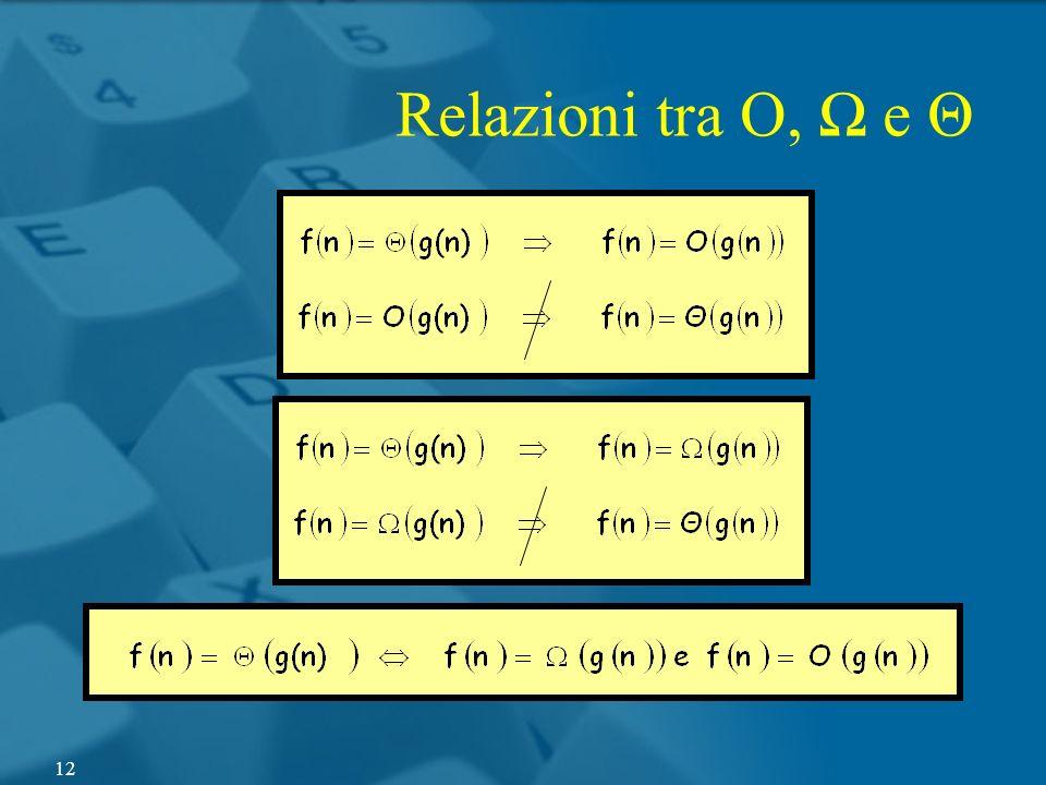 Relazioni tra O, e Θ 12