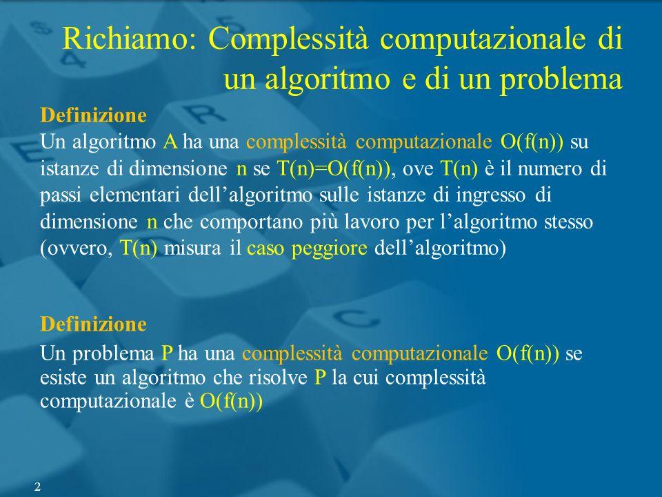 Richiamo: Complessità computazionale di un algoritmo e di un problema Definizione Un algoritmo A ha una complessità computazionale O(f(n)) su istanze