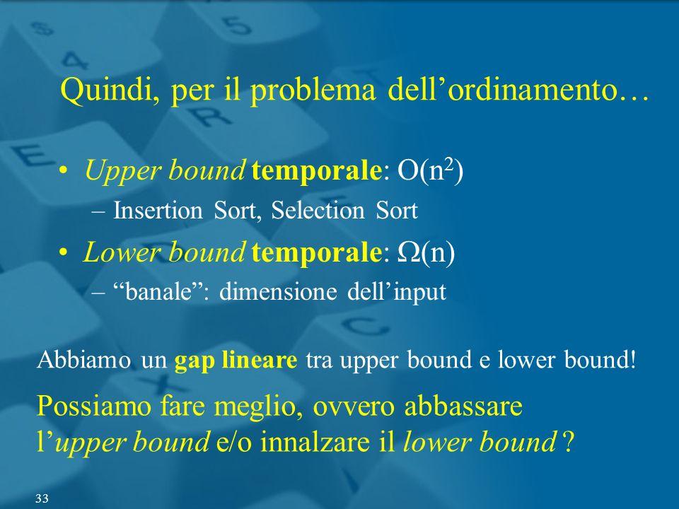 Quindi, per il problema dellordinamento… Upper bound temporale: O(n 2 ) –Insertion Sort, Selection Sort Lower bound temporale: (n) –banale: dimensione
