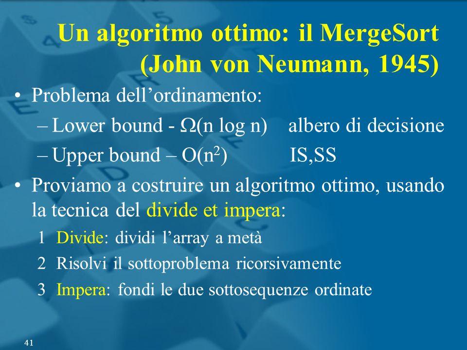 Problema dellordinamento: –Lower bound - (n log n) albero di decisione –Upper bound – O(n 2 ) IS,SS Proviamo a costruire un algoritmo ottimo, usando l