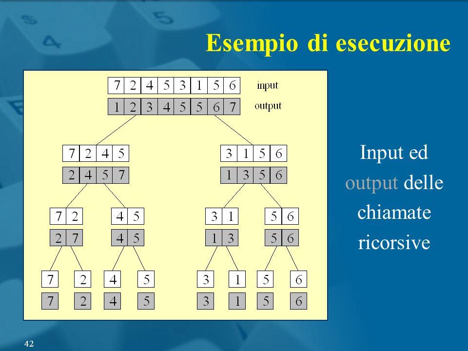 Esempio di esecuzione Input ed output delle chiamate ricorsive 42