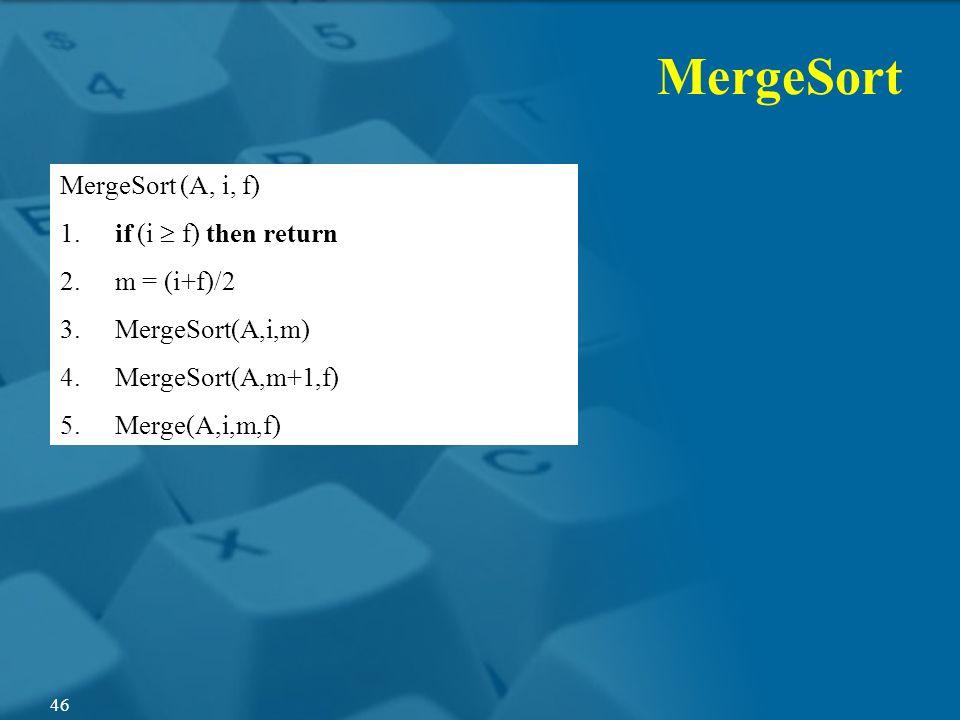 MergeSort (A, i, f) 1. if (i f) then return 2. m = (i+f)/2 3. MergeSort(A,i,m) 4. MergeSort(A,m+1,f) 5. Merge(A,i,m,f) MergeSort 46
