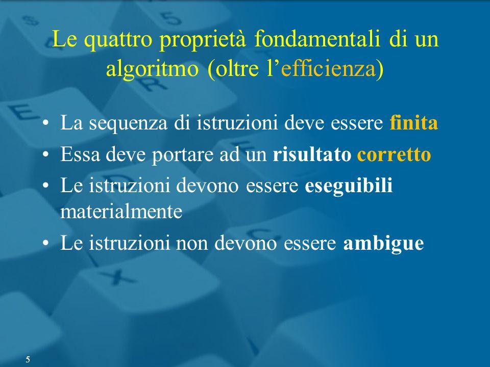 Le quattro proprietà fondamentali di un algoritmo (oltre lefficienza) La sequenza di istruzioni deve essere finita Essa deve portare ad un risultato c