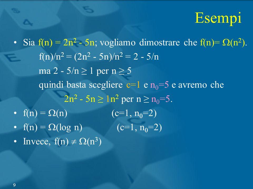 Esempi Sia f(n) = 2n 2 - 5n; vogliamo dimostrare che f(n)= (n 2 ). f(n)/n 2 = (2n 2 - 5n)/n 2 = 2 - 5/n ma 2 - 5/n 1 per n 5 quindi basta scegliere c=