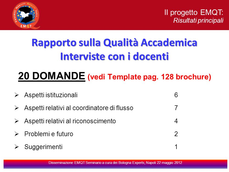 Il progetto EMQT: Risultati principali Disseminazione EMQT Seminario a cura dei Bologna Experts, Napoli 22 maggio 2012 20 DOMANDE (vedi Template pag.
