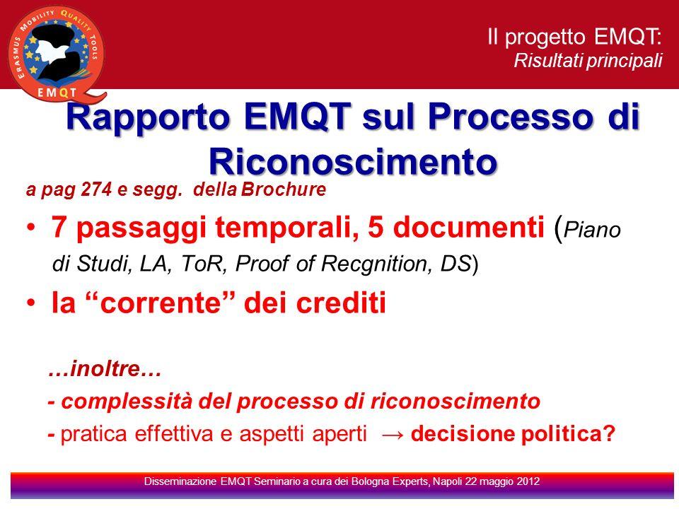 Il progetto EMQT: Risultati principali Disseminazione EMQT Seminario a cura dei Bologna Experts, Napoli 22 maggio 2012 Rapporto EMQT sul Processo di Riconoscimento a pag 274 e segg.