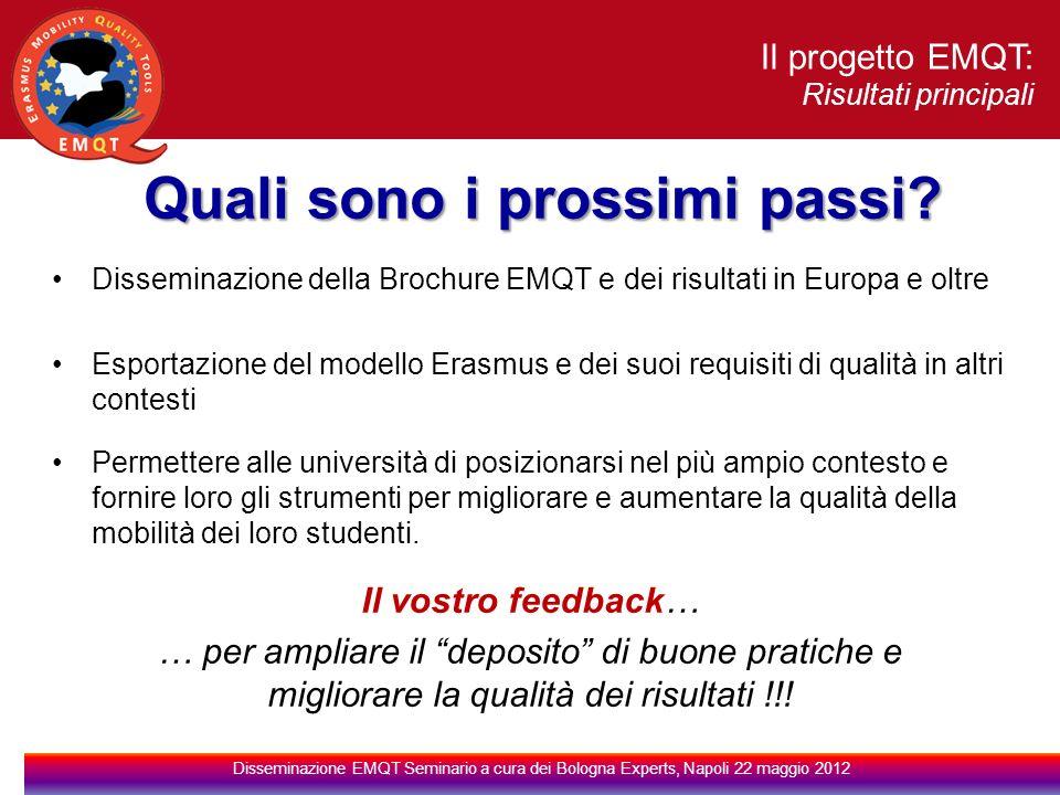 Il progetto EMQT: Risultati principali Disseminazione EMQT Seminario a cura dei Bologna Experts, Napoli 22 maggio 2012 Quali sono i prossimi passi.
