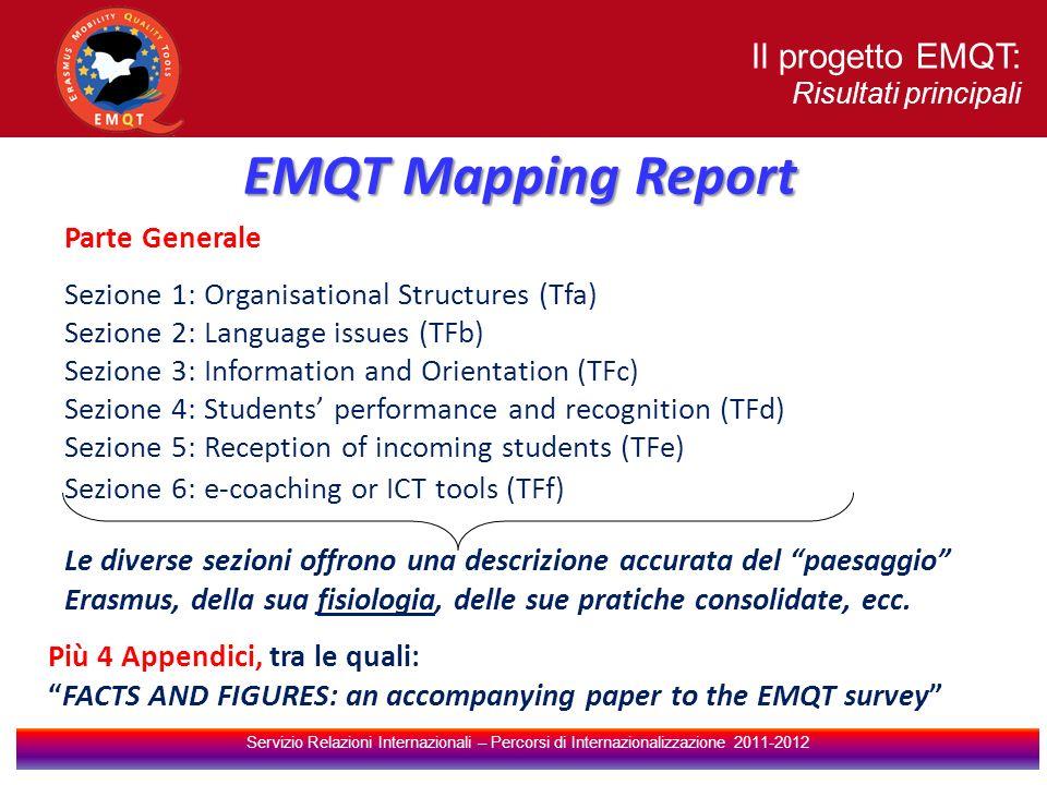 Il progetto EMQT: Risultati principali Servizio Relazioni Internazionali – Percorsi di Internazionalizzazione 2011-2012 Parte Generale Sezione 1: Organisational Structures (Tfa) Sezione 2: Language issues (TFb) Sezione 3: Information and Orientation (TFc) Sezione 4: Students performance and recognition (TFd) Sezione 5: Reception of incoming students (TFe) Sezione 6: e-coaching or ICT tools (TFf) EMQT Mapping Report Più 4 Appendici, tra le quali: FACTS AND FIGURES: an accompanying paper to the EMQT survey Le diverse sezioni offrono una descrizione accurata del paesaggio Erasmus, della sua fisiologia, delle sue pratiche consolidate, ecc.