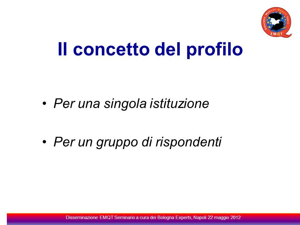Il concetto del profilo Per una singola istituzione Per un gruppo di rispondenti Disseminazione EMQT Seminario a cura dei Bologna Experts, Napoli 22 maggio 2012