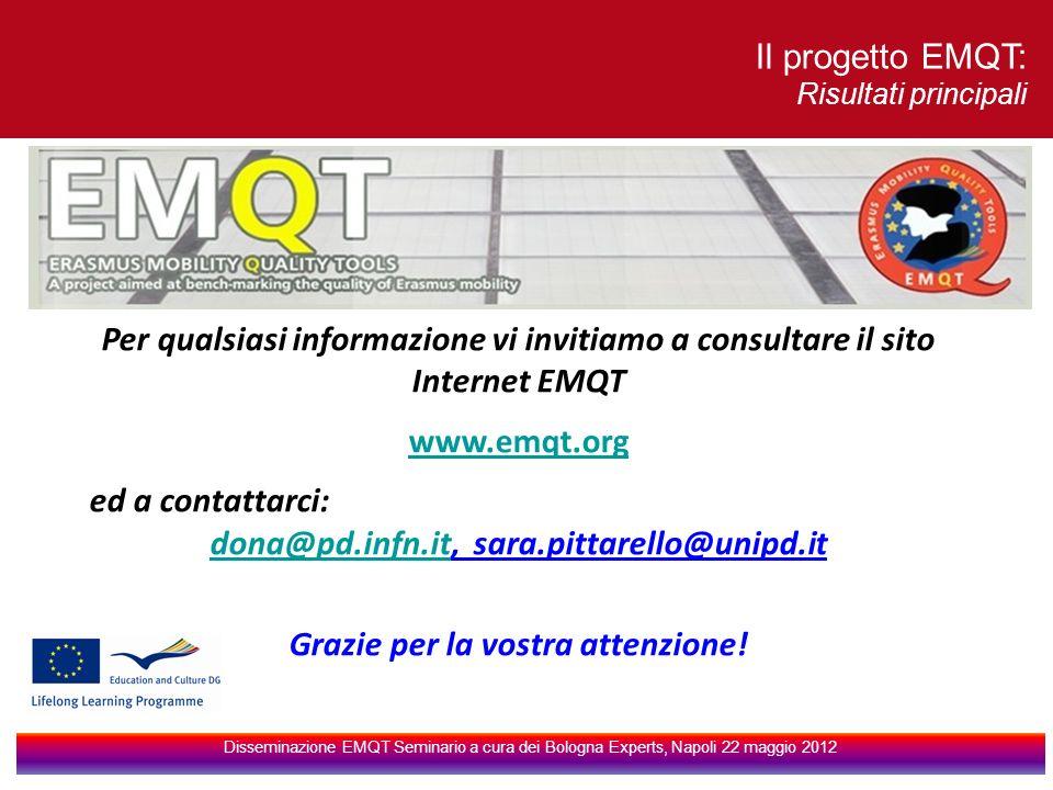 Per qualsiasi informazione vi invitiamo a consultare il sito Internet EMQT www.emqt.org ed a contattarci: dona@pd.infn.itdona@pd.infn.it, sara.pittarello@unipd.it Grazie per la vostra attenzione.