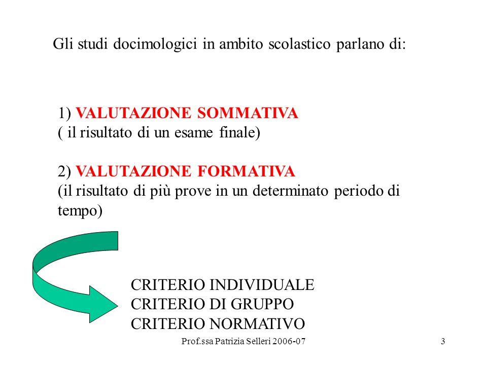 Prof.ssa Patrizia Selleri 2006-073 1) VALUTAZIONE SOMMATIVA ( il risultato di un esame finale) 2) VALUTAZIONE FORMATIVA (il risultato di più prove in un determinato periodo di tempo) CRITERIO INDIVIDUALE CRITERIO DI GRUPPO CRITERIO NORMATIVO Gli studi docimologici in ambito scolastico parlano di: