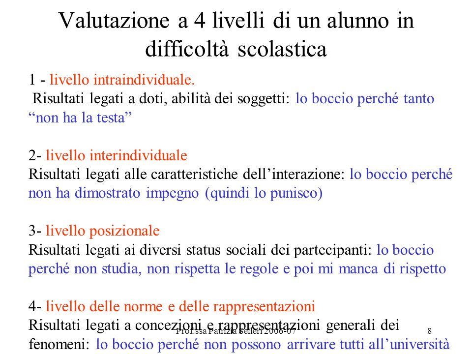 Prof.ssa Patrizia Selleri 2006-078 Valutazione a 4 livelli di un alunno in difficoltà scolastica 1 - livello intraindividuale.