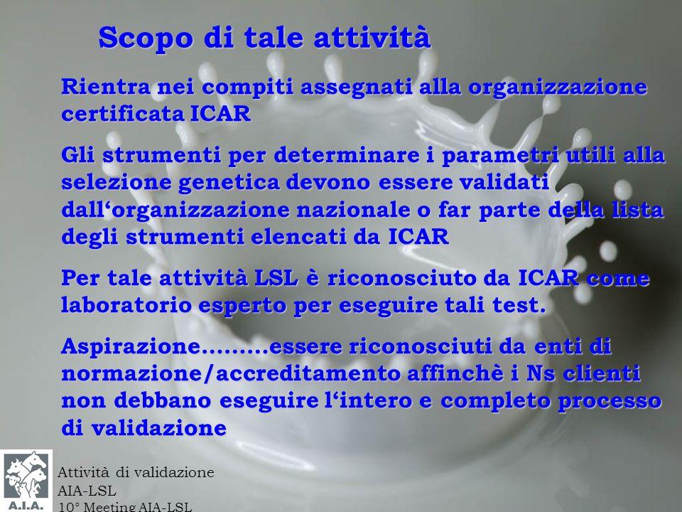 Scopo di tale attività Rientra nei compiti assegnati alla organizzazione certificata ICAR Gli strumenti per determinare i parametri utili alla selezio