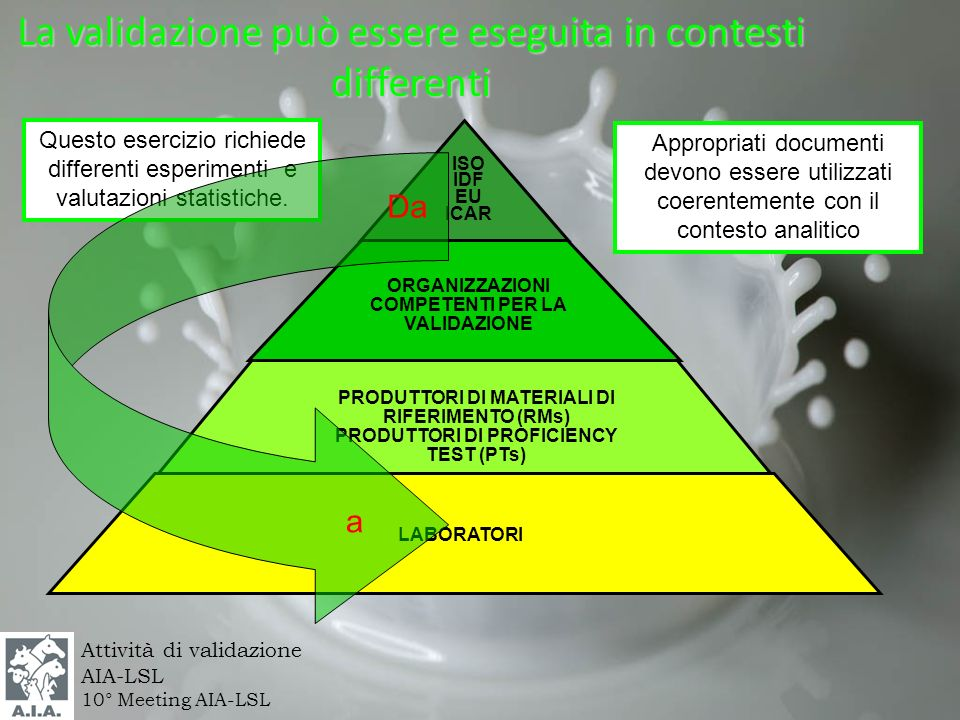 Attività di validazione AIA-LSL 10° Meeting AIA-LSL Appropriati documenti devono essere utilizzati coerentemente con il contesto analitico La validazi