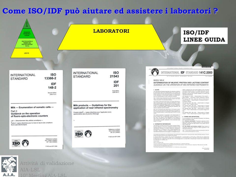 Attività di validazione AIA-LSL 10° Meeting AIA-LSL ISO/IDF LINEE GUIDA LABORATORI Come ISO/IDF può aiutare ed assistere i laboratori ?