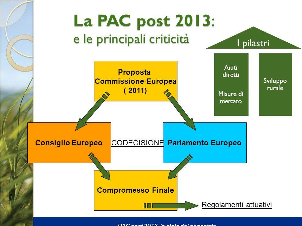 La PAC post 2013: e le principali criticità Aiuti diretti Misure di mercato Sviluppo rurale I pilastri Proposta Commissione Europea ( 2011) Consiglio EuropeoParlamento Europeo Compromesso Finale CODECISIONE Regolamenti attuativi PAC post 2013, lo stato del negoziato.