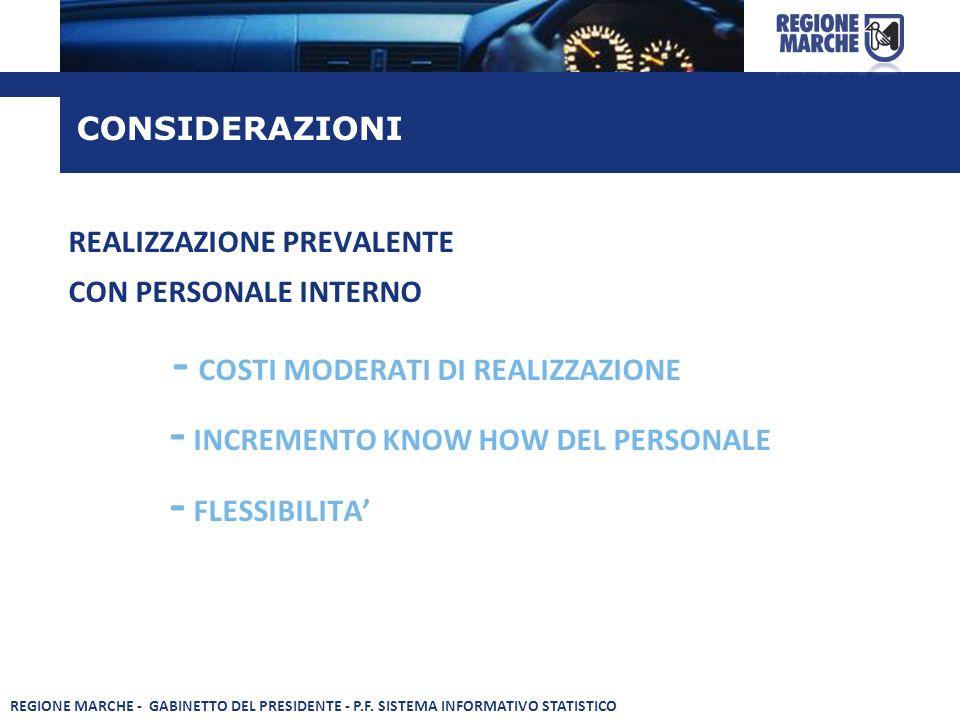 REALIZZAZIONE PREVALENTE CON PERSONALE INTERNO - COSTI MODERATI DI REALIZZAZIONE - INCREMENTO KNOW HOW DEL PERSONALE - FLESSIBILITA CONSIDERAZIONI