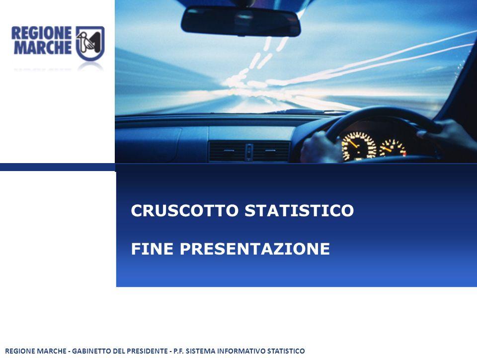 CRUSCOTTO STATISTICO FINE PRESENTAZIONE REGIONE MARCHE - GABINETTO DEL PRESIDENTE - P.F.