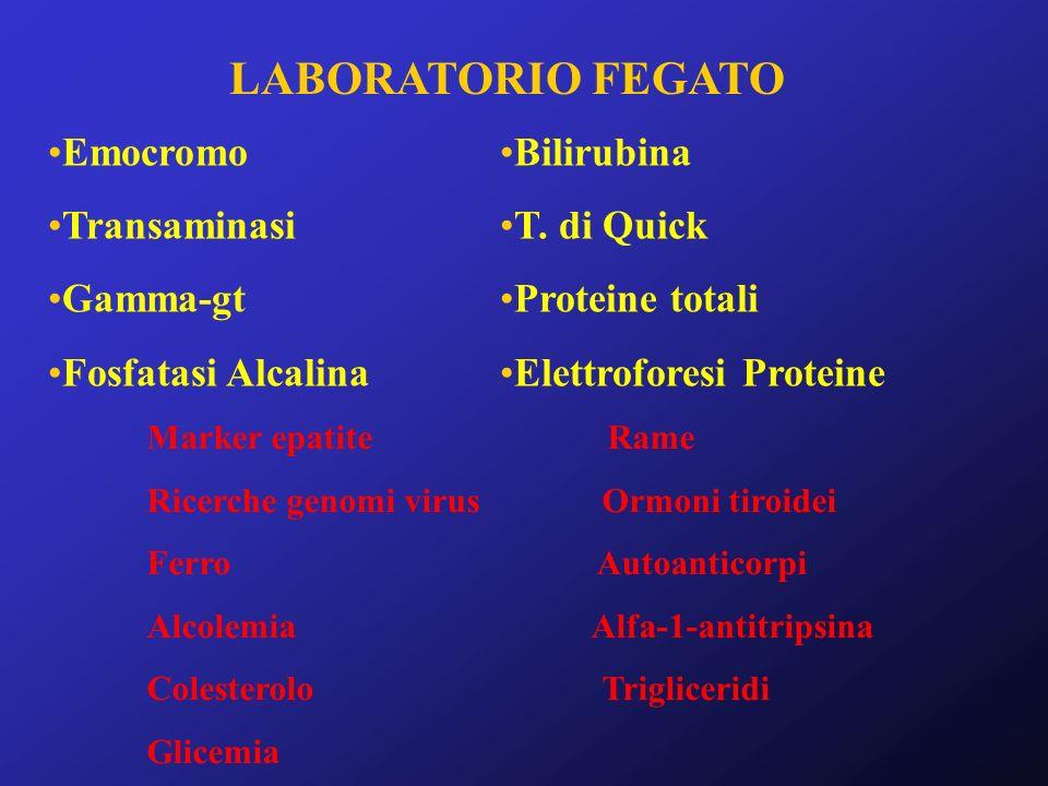 LABORATORIO FEGATO Emocromo Transaminasi Gamma-gt Fosfatasi Alcalina Bilirubina T. di Quick Proteine totali Elettroforesi Proteine Marker epatite Rame