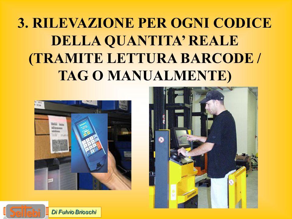 3. RILEVAZIONE PER OGNI CODICE DELLA QUANTITA REALE (TRAMITE LETTURA BARCODE / TAG O MANUALMENTE) Di Fulvio Brioschi