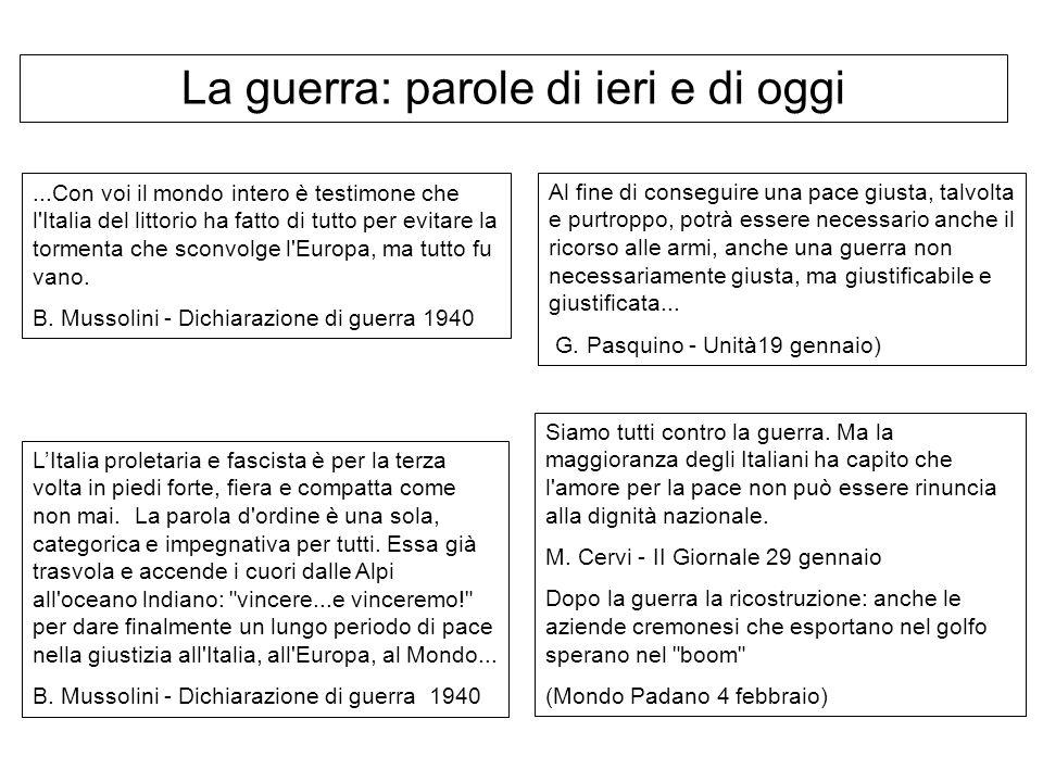 ...Con voi il mondo intero è testimone che l'Italia del littorio ha fatto di tutto per evitare la tormenta che sconvolge l'Europa, ma tutto fu vano. B