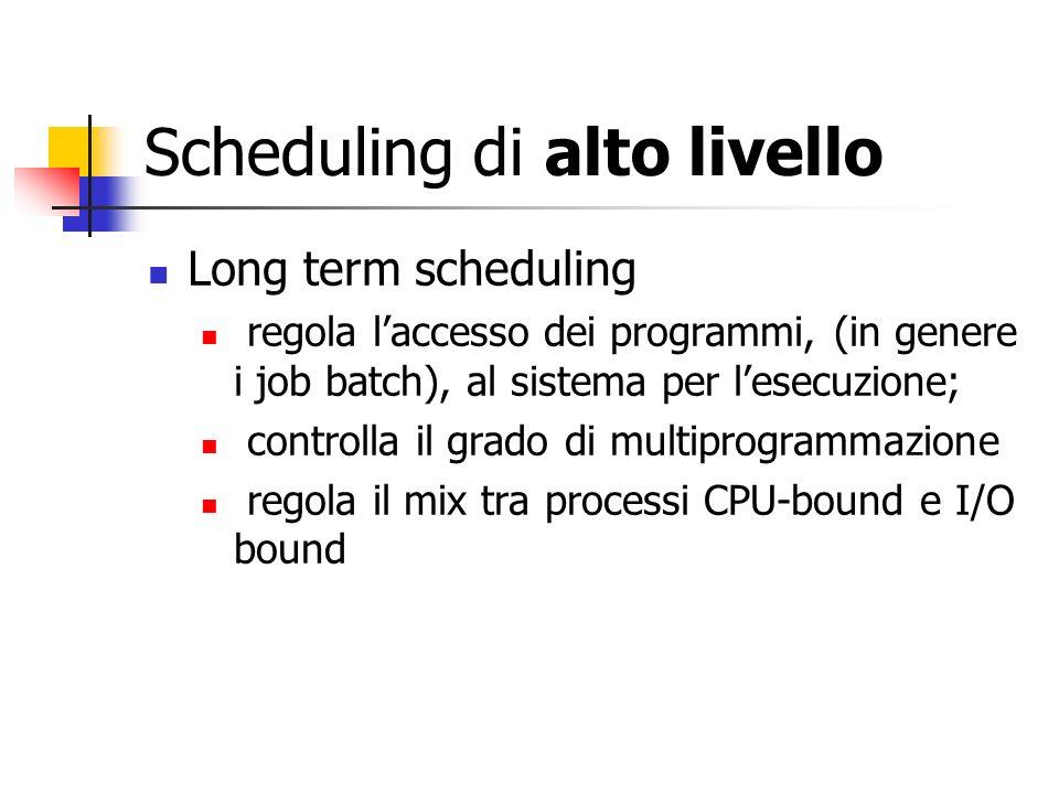 Scheduling di alto livello Long term scheduling regola laccesso dei programmi, (in genere i job batch), al sistema per lesecuzione; controlla il grado di multiprogrammazione regola il mix tra processi CPU-bound e I/O bound