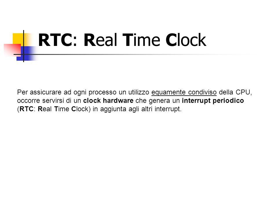 RTC: Real Time Clock Per assicurare ad ogni processo un utilizzo equamente condiviso della CPU, occorre servirsi di un clock hardware che genera un interrupt periodico (RTC: Real Time Clock) in aggiunta agli altri interrupt.