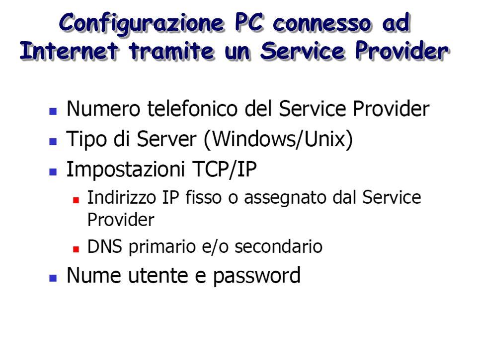 Configurazione PC connesso ad Internet tramite un Service Provider