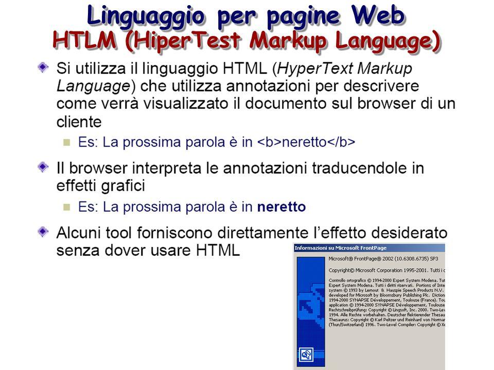 Linguaggio per pagine Web HTLM (HiperTest Markup Language) Linguaggio per pagine Web HTLM (HiperTest Markup Language)