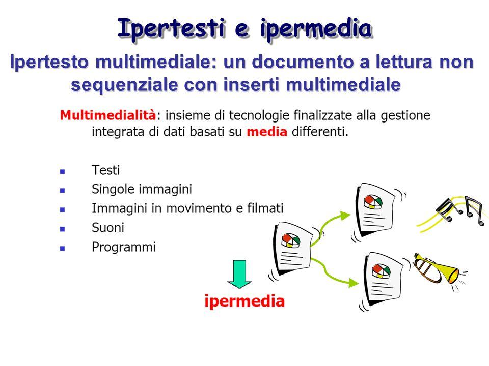 Ipertesti e ipermedia Ipertesto multimediale: un documento a lettura non sequenziale con inserti multimediale