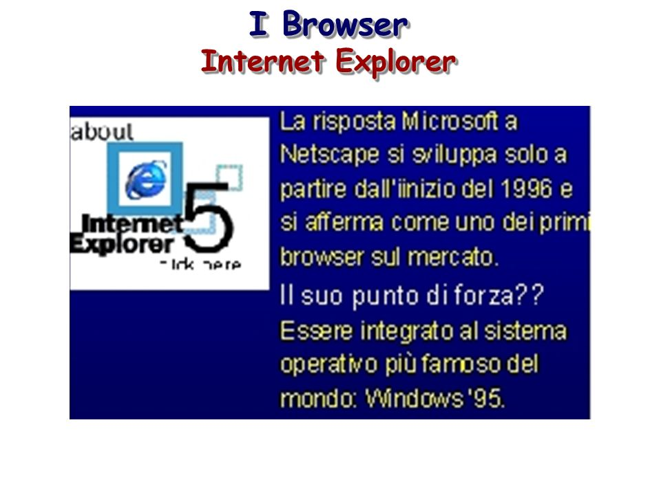 I Browser Internet Explorer I Browser Internet Explorer