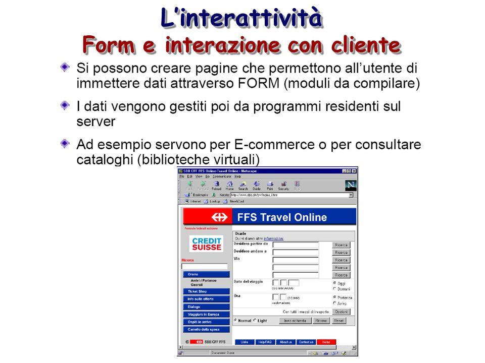 Linterattività Form e interazione con cliente Linterattività